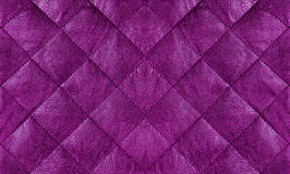 Пурпур выстегал кожаный конец ткани вверх, предпосылка Стоковое фото RF