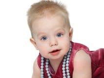 пурпур девушки платья Стоковая Фотография