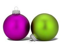 пурпур зеленого цвета рождества шариков Стоковые Фотографии RF