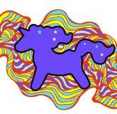 Пурпур с гривой и рожком Стикер единорога на предпосылке радуги Стикер единорога, значок заплаты Стоковые Фотографии RF
