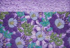 Пурпур цветет вышивка Стоковая Фотография
