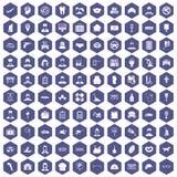 пурпур шестиугольника 100 любимый значков работы иллюстрация вектора