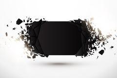 Пустая абстрактная предпосылка Черное знамя с влиянием и заревом взрыва Стоковое Фото
