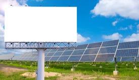 Пустая афиша для рекламы с электрической станцией солнечной энергии Стоковые Фото