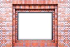 Пустая белая афиша на кирпичной стене стоковая фотография