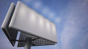 Пустая белая афиша стоя перед голубым небом иллюстрация вектора