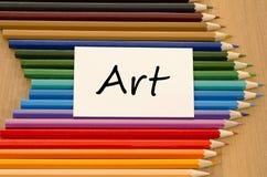 Пустая белая бумага и покрашенный карандаш на деревянной предпосылке Стоковые Фото