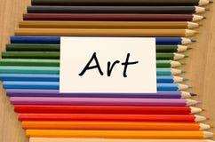 Пустая белая бумага и покрашенный карандаш на деревянной предпосылке Стоковые Фотографии RF