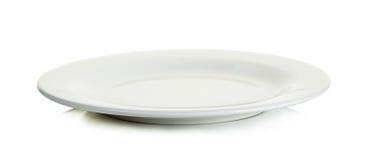 Пустая белая плита круга изолированная на белизне Стоковое Изображение RF