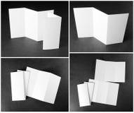 Пустая белая складывая бумажная рогулька Стоковая Фотография RF