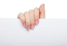 пустая белизна бумаги удерживания руки Стоковая Фотография
