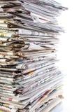 пустая белизна бумажного стога газет верхняя Стоковые Фотографии RF