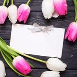 Пустая бирка и розовые и белые тюльпаны цветут на винтажной черноте Стоковое Изображение RF