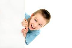 пустая бумага мальчика Стоковая Фотография RF