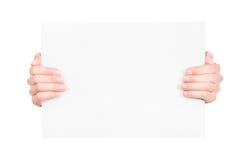 пустая бумага удерживания руки Стоковое фото RF