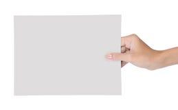 пустая бумага удерживания руки 6 Стоковое Изображение