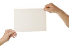 пустая бумага удерживания Стоковые Изображения