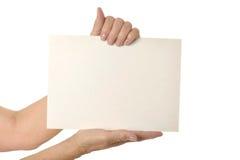 пустая бумага удерживания Стоковое Изображение RF