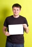 пустая бумага человека удерживания Стоковая Фотография