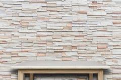 Пустая верхняя часть предпосылки естественной каменной таблицы и каменной стены Стоковое фото RF