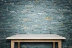 Пустая верхняя часть предпосылки естественной каменной таблицы и каменной стены Стоковое Фото
