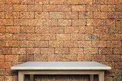 Пустая верхняя часть предпосылки естественной каменной таблицы и каменной стены Стоковая Фотография RF