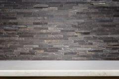 Пустая верхняя часть предпосылки естественной каменной таблицы и каменной стены Стоковые Фото