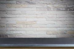 Пустая верхняя часть предпосылки естественной каменной таблицы и каменной стены Стоковые Изображения