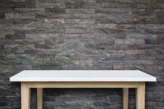 Пустая верхняя часть предпосылки естественной каменной таблицы и каменной стены Стоковые Изображения RF