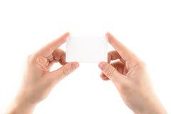 Пустая визитная карточка в руке Стоковое Фото