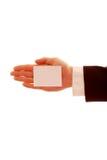 пустая визитная карточка держа вне Стоковые Фото