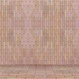 Пустая внутренняя перспектива с стеной плитки кирпича Стоковое Изображение