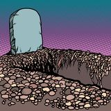 Пустая выкопанная могила Некрополь церковного двора погоста кладбища иллюстрация вектора
