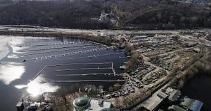 Пустая гавань для шлюпок в городе Киева сток-видео