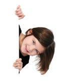 пустая девушка держа меньший знак стоковое изображение rf