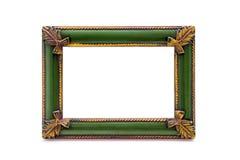 Пустая деревянная двойная картинная рамка на белой предпосылке Стоковые Фото