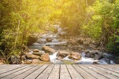 Пустая деревянная терраса с потоком в лесе стоковые фотографии rf