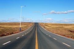 пустая дорога лужка Стоковая Фотография