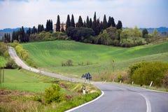 Пустая дорога на Toscana Стоковые Изображения RF