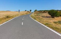 Пустая дорога среди полей Стоковое Изображение RF