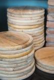Пустая деревянная круглая доска для пиццы Стоковые Фото