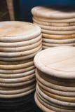 Пустая деревянная круглая доска для пиццы Стоковое Фото