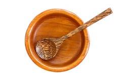 Пустая деревянная плита при деревянная изолированная ложка Стоковое Изображение RF