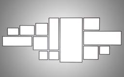 Пустая деревянная рамка фото на красной стене белизна разнообразия украшения предпосылки статьей нутряная малая Стоковая Фотография RF