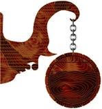 Пустая деревянная смертная казнь через повешение знака на цепи, иллюстрации вектора Стоковые Фото