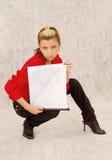 пустая женщина знака удерживания Стоковая Фотография RF