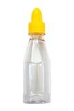 Пустая изолированная крышка, путь стеклянной бутылки соуса всплывающая клиппирования Стоковое Фото
