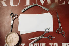 Пустая карточка в парикмахере оборудует открытый космос рамки Стоковые Фотографии RF