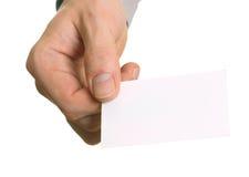 Пустая карточка посещения в руке стоковое фото rf