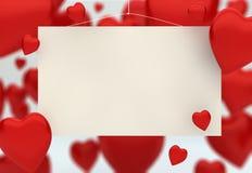 пустая карточка с воздушными шарами сердец Стоковая Фотография